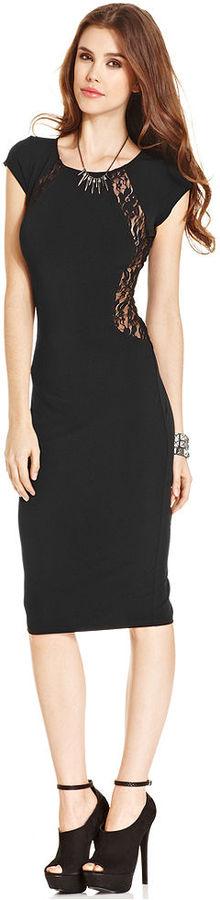 Tempted Juniors' Cap-Sleeve Lace-Panel Dress