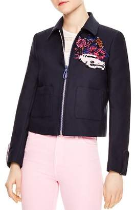 Sandro Loria Cropped Cuba Patch Jacket