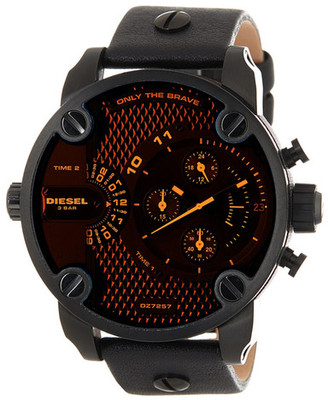 Diesel Men&s Little Daddy Leather Strap Watch $295 thestylecure.com