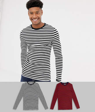 Asos DESIGN Tall muscle fit long sleeve t-shirt in organic cotton 2 pack black/white navy/red