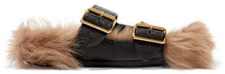 Prada Leather And Shearling Slides - Black