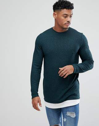 d65e5379b7f8 Asos Design super longline long sleeve t-shirt with hem extender in  interest rib in