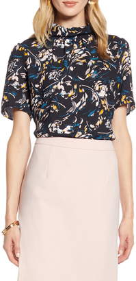 Halogen Floral Print Pleated Neck Top