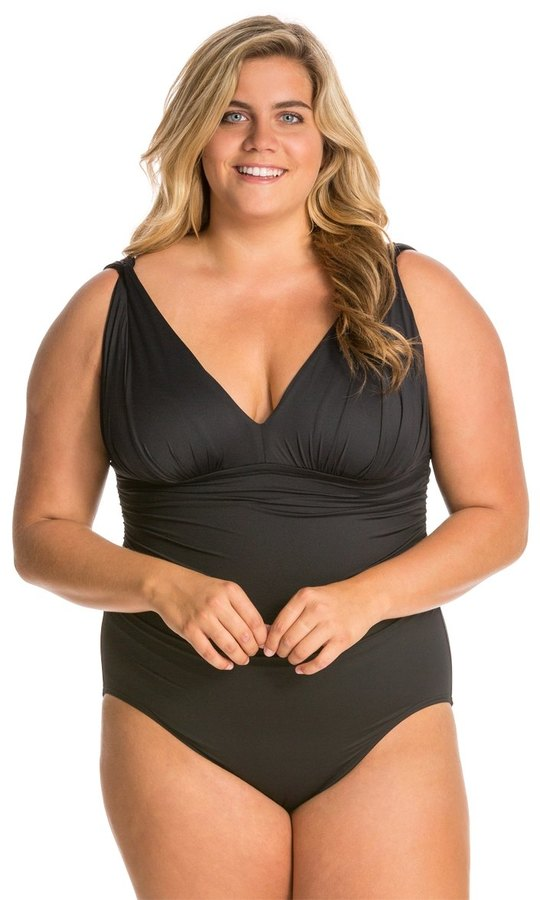Carmen Marc Valvo Carmen Marc Valvo Plus Size Tribal Muse Solid One Piece Swimsuit 8131690