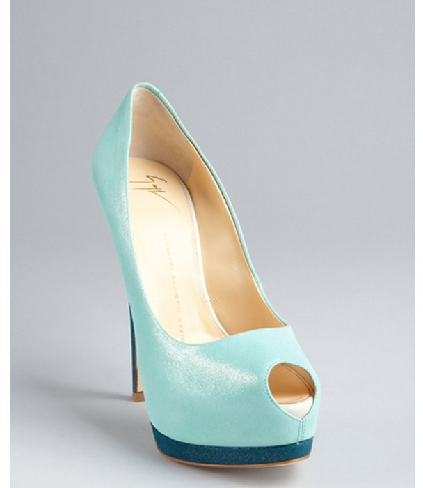 Giuseppe Zanotti aqua and turquoise shimmer suede platform peep toe pumps