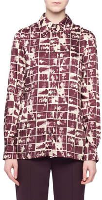Victoria Beckham Victoria Cinemas-Frames Print Button-Front Long-Sleeve Shirt