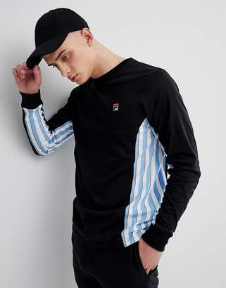 Fila Vintage Long Sleeve T-Shirt With Stripe Panel In Black