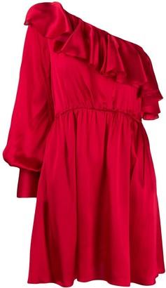 MSGM ruffle detail one shoulder dress