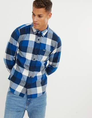 Hollister check flannel shirt in navy/turquoise