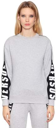 Versus Hidden Logo Printed Cotton Sweatshirt