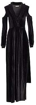 Each X Other Women's Pleated Velvet Cold-Shoulder Maxi Dress