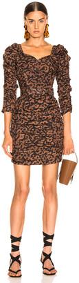 Nicholas Ruched Mini Dress in Black Leopard   FWRD