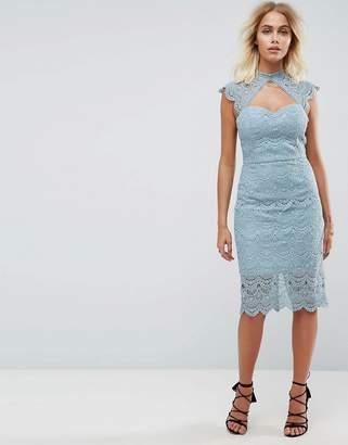 Chi Chi London Crochet Lace Midi Pencil Dress with Scalloped Back