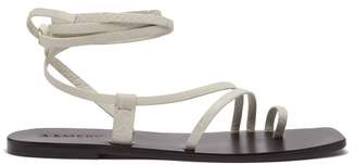 A.Emery A.emery - Beau Snake Effect Leather Wraparound Sandals - Womens - White