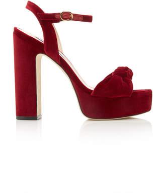 Stuart Weitzman Mirri Knotted Velvet Platform Sandals
