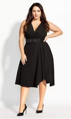 City Chic Citychic Tailored V Dress - black