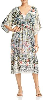Johnny Was Collection Fran Printed Silk Midi Dress