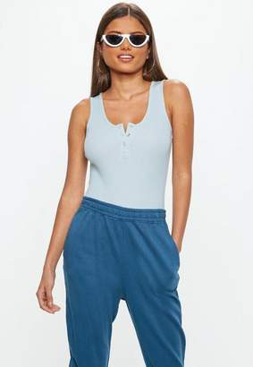 Missguided Blue Button Front Sleeveless Ribbed Bodysuit