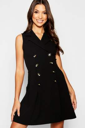boohoo Blazer Double Breasted Pocket Detail Horn Button Dress
