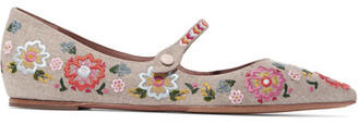 Tabitha Simmons - Hermione Fest Embroidered Canvas Point-toe Flats - Neutral $775 thestylecure.com