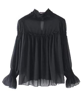 Goodnight Macaroon 'Alanna' Ruched High Neck Sheer Blouse (4 Colors)