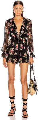Zimmermann Honour Floating Playsuit in Black Floral | FWRD