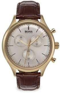 HUGO BOSS Companion Brown Leather Strap Watch