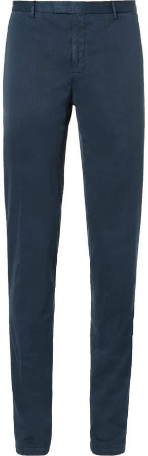 BoglioliBoglioli Blue Slim-Fit Herringbone Stretch Cotton-Blend Suit Trousers