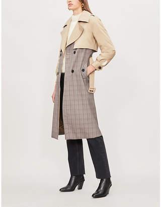 Claudie Pierlot Gina contrast-panel cotton trench coat