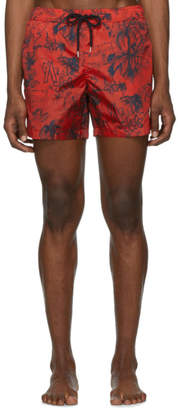 Moncler Red Palm Tree Swim Shorts