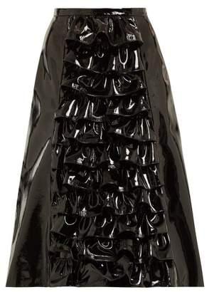 Christopher Kane Ruffled Patent Leather Skirt - Womens - Black