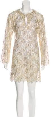 Sophie Theallet Crochet Mini Dress Gold Crochet Mini Dress