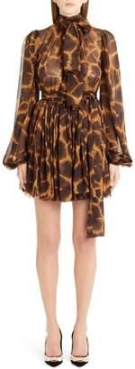 Dolce & Gabbana Giraffe Print Silk Dress
