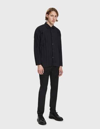 Issey Miyake Homme Plissé Edge Button Up Shirt in Black