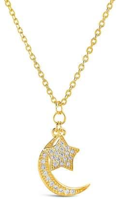 Sterling Forever 14K Gold Vermeil Pave CZ Moon & Star Pendant Necklace
