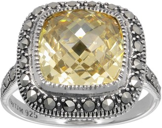 Swarovski Lavish By Tjm Lavish by TJM Sterling Silver Canary Cubic Zirconia Ring - Made with Marcasite