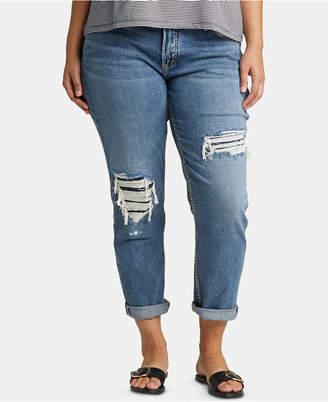 Silver Jeans Co. Trendy Plus Size Ripped Boyfriend Jeans