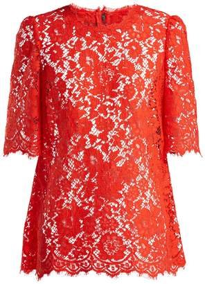 Dolce & Gabbana Short-sleeved scalloped-edge lace top