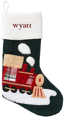Pottery Barn Kids Train Luxe Velvet Green Stocking