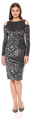 Maggy London Women's Velvet Scroll Burn Out Mid Length Sheath with Cold Shoulder