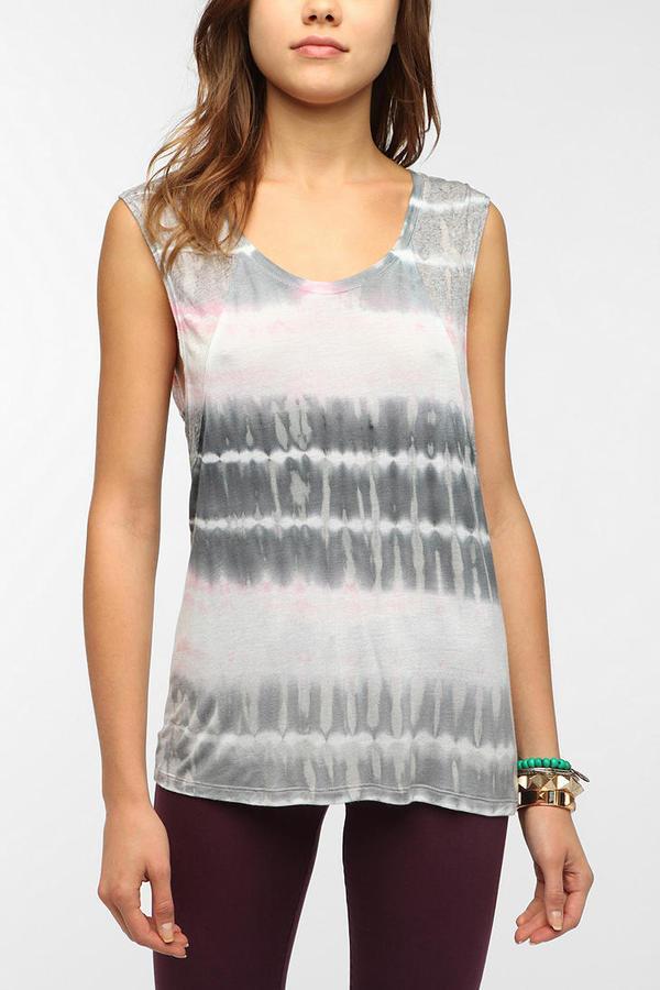 Urban Outfitters Daydreamer LA Bleach-Dyed Raglan Tank Top