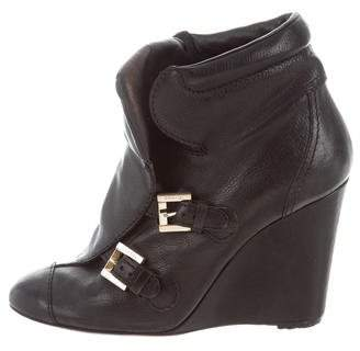 Chanel Buckle-Accented Wedge Ankle Boots