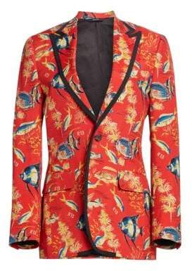 R 13 Tropical Fish Printed Tuxedo Blazer