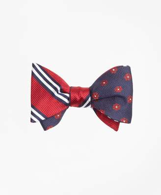 Brooks Brothers Textured Framed Flower with BB#1 Stripe Reversible Bow Tie