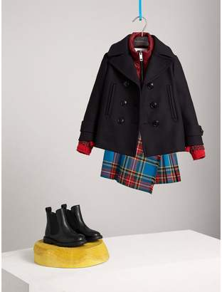 Burberry Wool Cashmere Blend Pea Coat with Down-filled Gilet