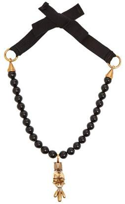 Valentino Floral Rockstud Pendant Beaded Necklace - Womens - Black