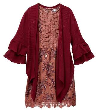 Beautees Crochet Top Paisley Dress & Ruffle Sleeve Sweater Set (Big Girls)