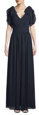 Badgley Mischka Bow-Sleeve V-Neck Gown