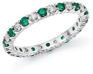 Bloomingdale's Diamond and Emerald Eternity Band in 14K White Gold - 100% Exclusive