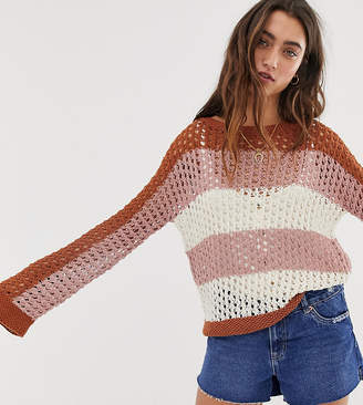 People Tree hand knitted jumper in stripe